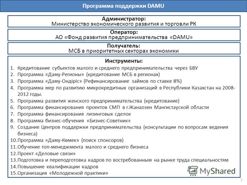 Программа поддержки DAMU Администратор: Министерство экономического развития и торговли РК Получатель: МСБ в приоритетных секторах экономики Инструменты: 1.Кредитование субьектов малого и среднего предпринимательства через БВУ 2.Программа «Даму-Регио