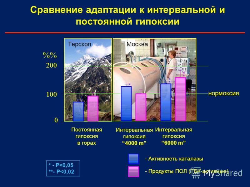 Сравнение адаптации к интервальной и постоянной гипоксии 0 100 200 % Постоянная гипоксия в горах - Продукты ПОЛ (ТБК-активные) - Активность каталазы Интервальная гипоксия 4000 m Интервальная гипоксия 6000 m МоскваТерскол * - P