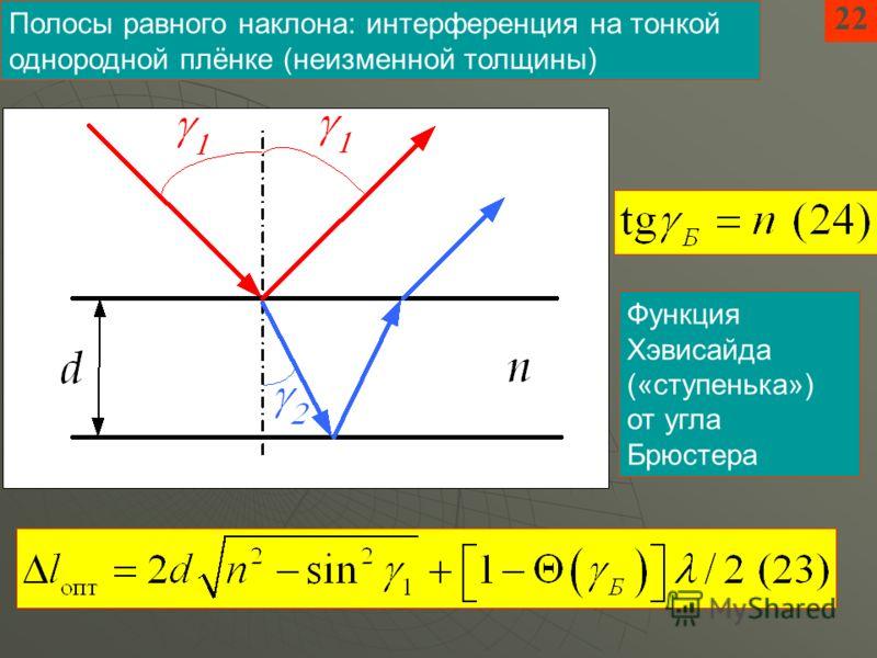 22 Полосы равного наклона: интерференция на тонкой однородной плёнке (неизменной толщины) Функция Хэвисайда («ступенька») от угла Брюстера