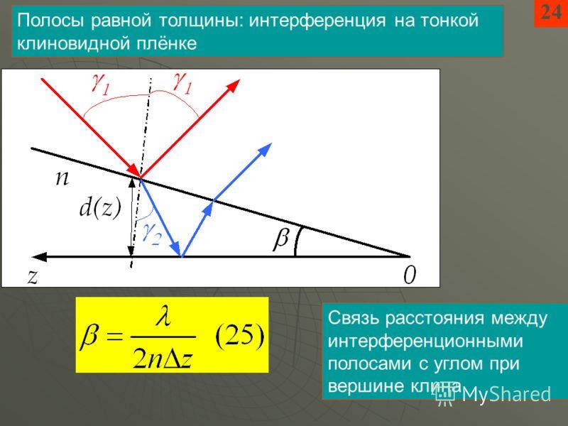 24 Полосы равной толщины: интерференция на тонкой клиновидной плёнке Связь расстояния между интерференционными полосами с углом при вершине клина