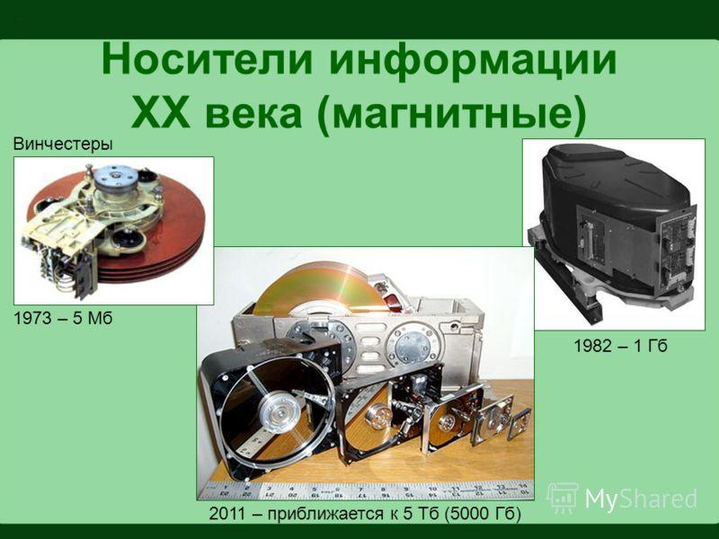 Носители информации XX века (магнитные) Винчестеры 1982 – 1 Гб 1973 – 5 Мб 2011 – приближается к 5 Тб (5000 Гб)