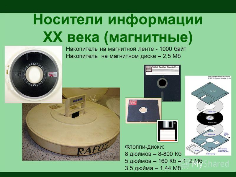 Носители информации XX века (магнитные) Накопитель на магнитной ленте - 1000 байт Накопитель на магнитном диске – 2,5 Мб Флоппи-диски: 8 дюймов – 8-800 Кб 5 дюймов – 160 Кб – 1, 2 Мб 3,5 дюйма – 1,44 Мб