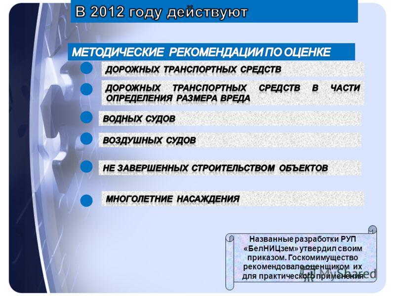 Названные разработки РУП «БелНИЦзем» утвердил своим приказом. Госкомимущество рекомендовало оценщиком их для практического применения