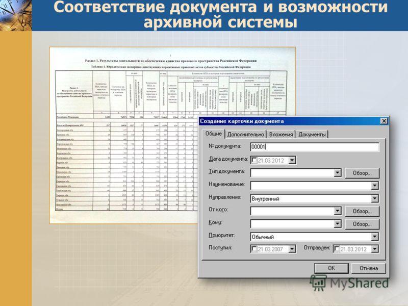 Соответствие документа и возможности архивной системы