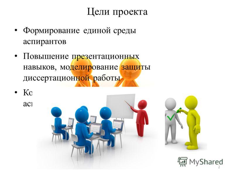 Формирование единой среды аспирантов Повышение презентационных навыков, моделирование защиты диссертационной работы Контроль за деятельностью аспирантов Цели проекта 2