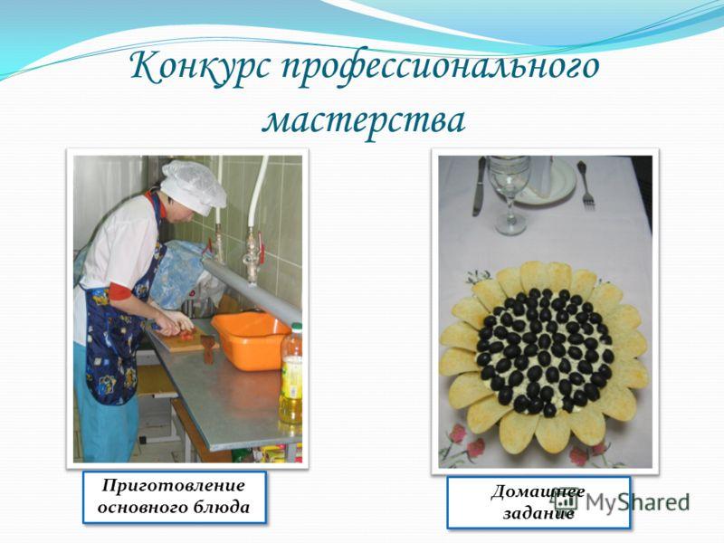 Конкурс профессионального мастерства Приготовление основного блюда Домашнее задание