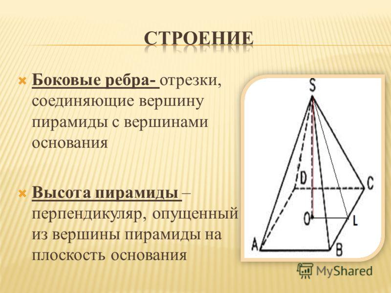 Ось правильной пирамиды – прямая, содержащая ее высоту. Апофема – высота боковой грани правильной пирамиды, проведенная из ее вершины. Боковая поверхность - сумма площадей ее боковых граней