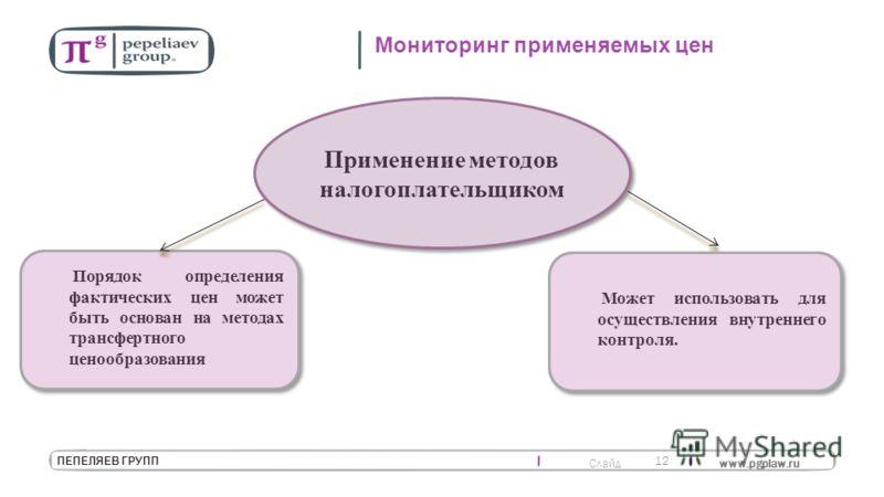 Слайд www.pgplaw.ru 12 ПЕПЕЛЯЕВ ГРУПП Мониторинг применяемых цен Применение методов налогоплательщиком Порядок определения фактических цен может быть основан на методах трансфертного ценообразования Может использовать для осуществления внутреннего ко