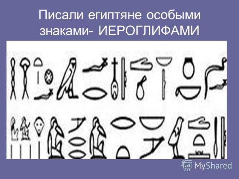 Писали египтяне особыми знаками- ИЕРОГЛИФАМИ