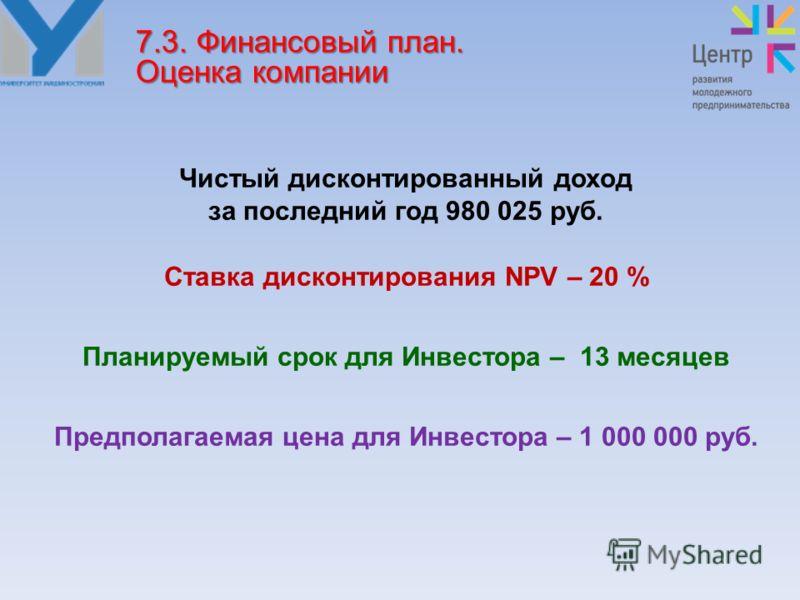 Чистый дисконтированный доход за последний год 980 025 руб. Ставка дисконтирования NPV – 20 % Планируемый срок для Инвестора – 13 месяцев Предполагаемая цена для Инвестора – 1 000 000 руб. 7.3. Финансовый план. Оценка компании