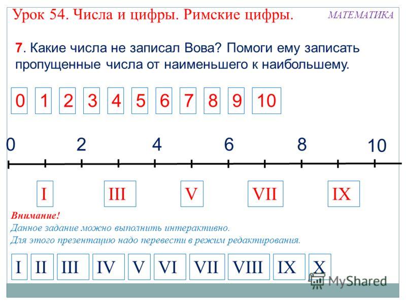 2468 10 0 IVIIIXIIIV IIIIVVIIIXXIIIVVIIIVI 7. Какие числа не записал Вова? Помоги ему записать пропущенные числа от наименьшего к наибольшему. 123456789010 Внимание! Данное задание можно выполнить интерактивно. Для этого презентацию надо перевести в