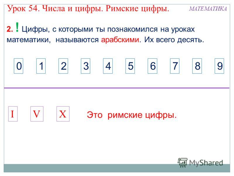 2. ! Цифры, с которыми ты познакомился на уроках математики, называются арабскими. Их всего десять. IXV Это римские цифры. 1234567890 МАТЕМАТИКА Урок 54. Числа и цифры. Римские цифры.