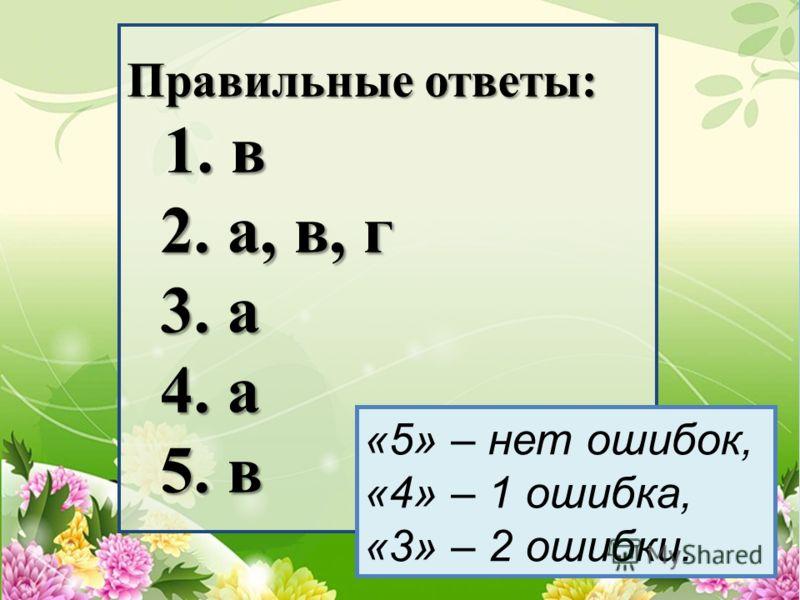 Правильные ответы: 1. в 2. а, в, г 3. а 4. а 5. в «5» – нет ошибок, «4» – 1 ошибка, «3» – 2 ошибки.