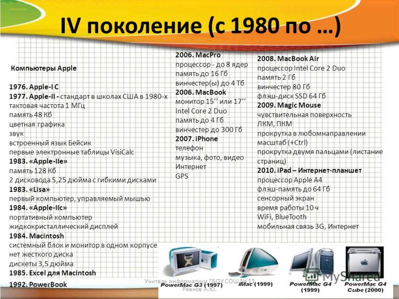 IV поколение (с 1980 по …) Компьютеры Apple 1976. Apple-I С 1977. Apple-II - стандарт в школах США в 1980-х тактовая частота 1 МГц память 48 Кб цветная графика звук встроенный язык Бейсик первые электронные таблицы VisiCalc 1983. «Apple-IIe» память 1
