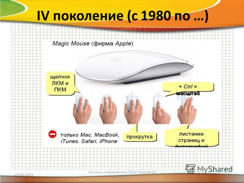 IV поколение (с 1980 по …) 23.05.2013 Учитель информатики ГБОУ СОШ 11 Ревков А.Ю. 20