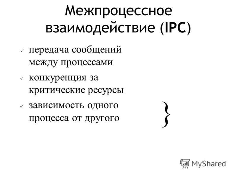 Межпроцессное взаимодействие (IPC) передача сообщений между процессами конкуренция за критические ресурсы зависимость одного процесса от другого }