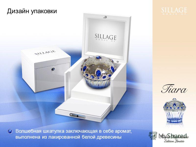 Дизайн упаковки Волшебная шкатулка заключающая в себе аромат, выполнена из лакированной белой древесины