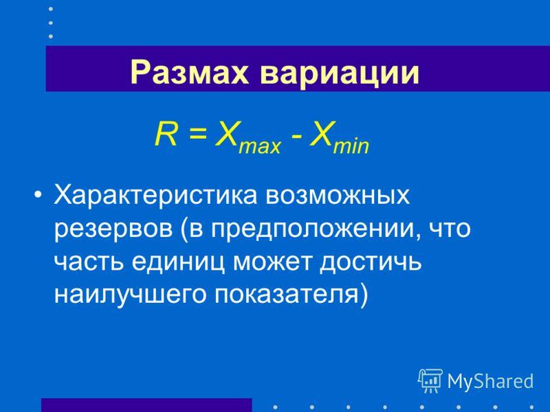 Размах вариации R = X max - X min Характеристика возможных резервов (в предположении, что часть единиц может достичь наилучшего показателя)