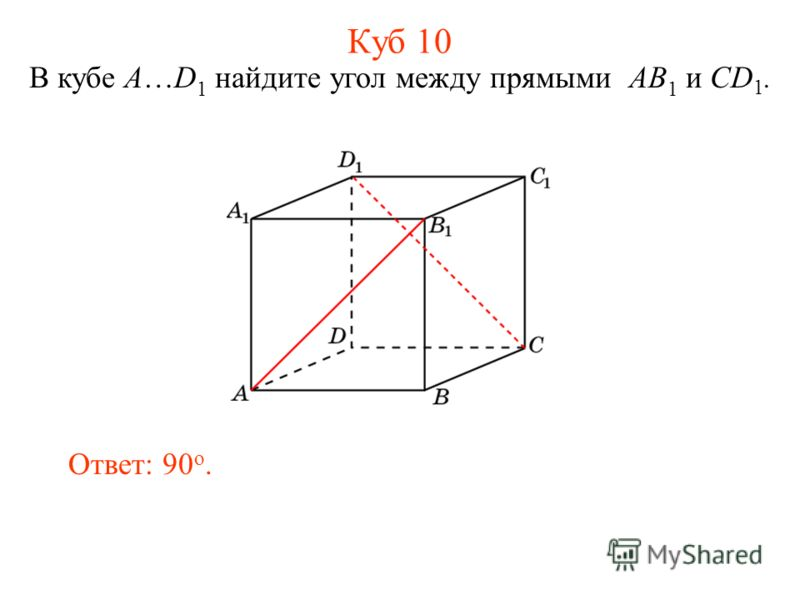 В кубе A…D 1 найдите угол между прямыми AB 1 и CD 1. Ответ: 90 o. Куб 10