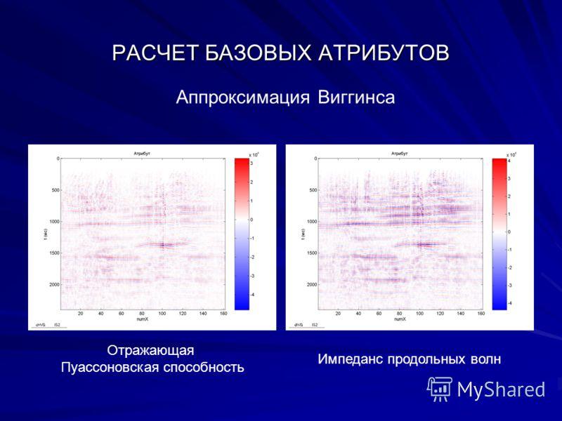 РАСЧЕТ БАЗОВЫХ АТРИБУТОВ Аппроксимация Виггинса Отражающая Пуассоновская способность Импеданс продольных волн