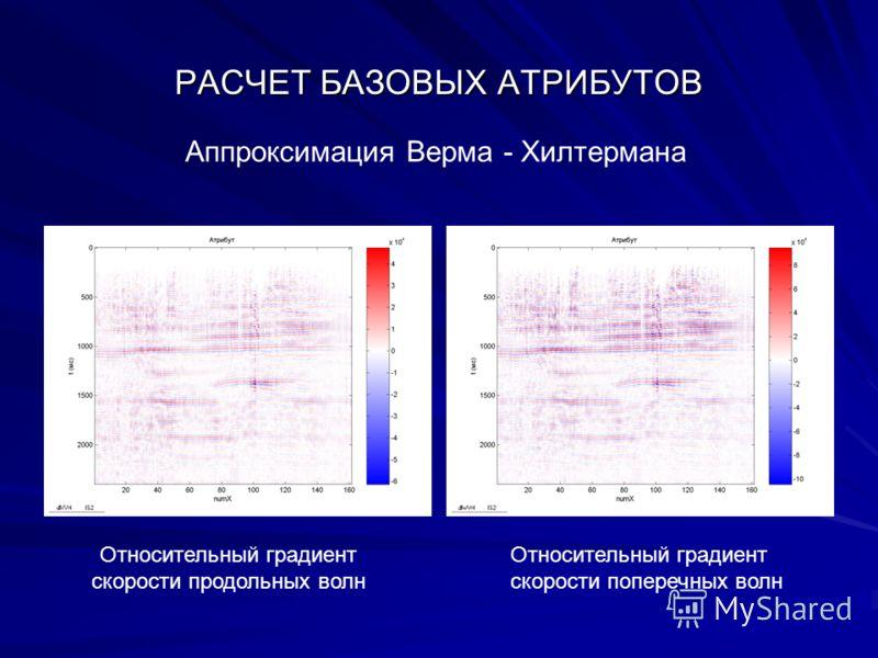 РАСЧЕТ БАЗОВЫХ АТРИБУТОВ Относительный градиент скорости продольных волн Относительный градиент скорости поперечных волн Аппроксимация Верма - Хилтермана