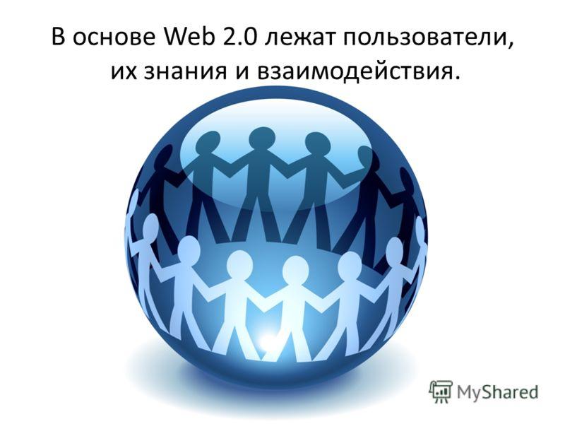 В основе Web 2.0 лежат пользователи, их знания и взаимодействия.