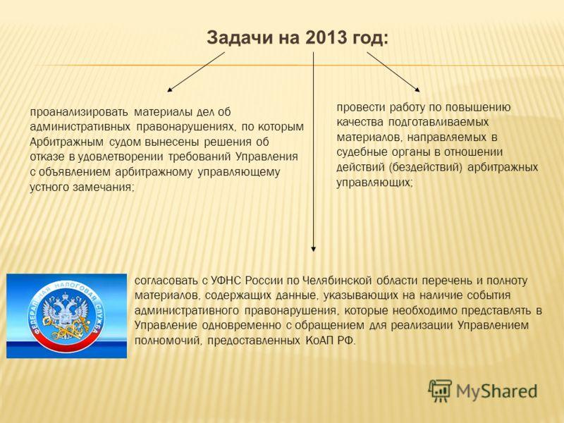 Задачи на 2013 год: проанализировать материалы дел об административных правонарушениях, по которым Арбитражным судом вынесены решения об отказе в удовлетворении требований Управления с объявлением арбитражному управляющему устного замечания; провести
