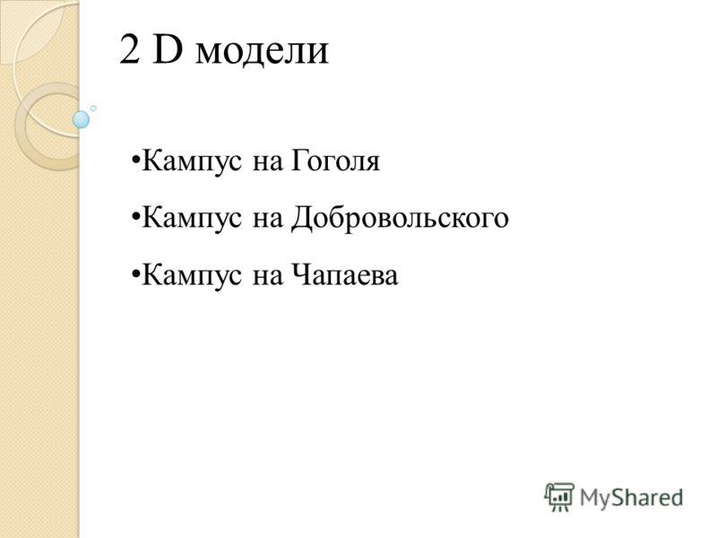 2 D модели Кампус на Гоголя Кампус на Добровольского Кампус на Чапаева