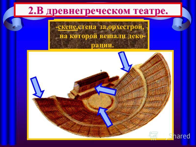 Здание театра состояло из 3 частей 2.В древнегреческом театре. -места для зрителей, -орхестра,круглая пло- щадка,где развора- чивалось действие. -скене,стена за,орхестрой, на которой вешали деко- рации.
