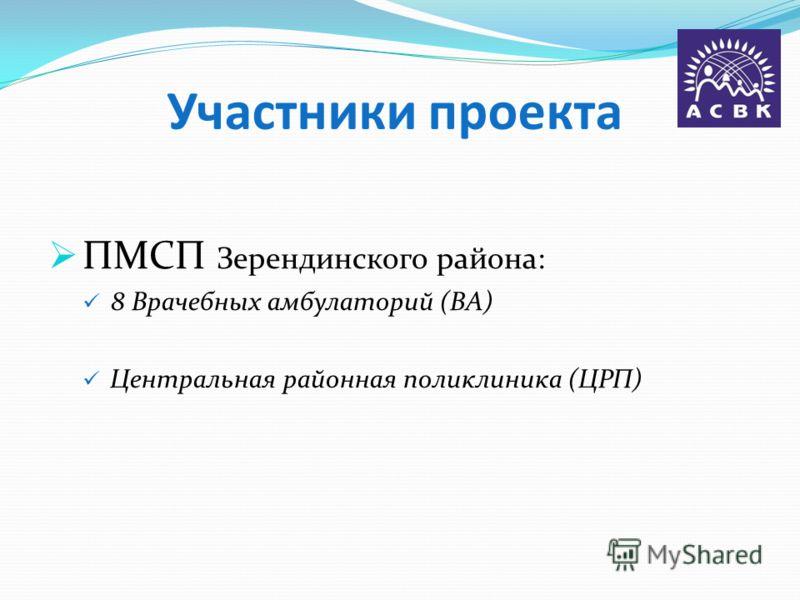 Участники проекта ПМСП Зерендинского района: 8 Врачебных амбулаторий (ВА) Центральная районная поликлиника (ЦРП)