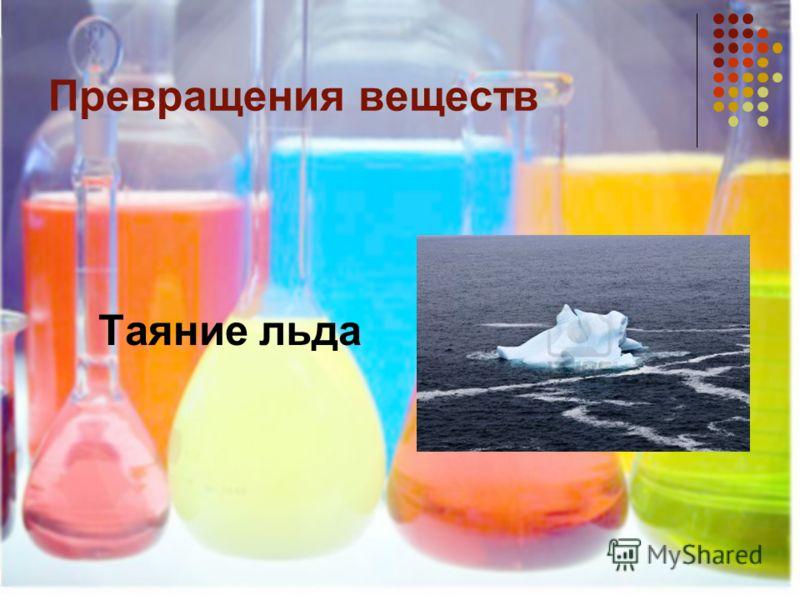 Превращения веществ Таяние льда