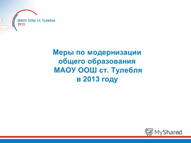 9 Меры по модернизации общего образования МАОУ ООШ ст. Тулебля в 2013 году МАОУ ООШ ст. Тулебля 2013