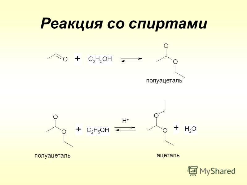 Реакция со спиртами полуацеталь ацеталь H+H+