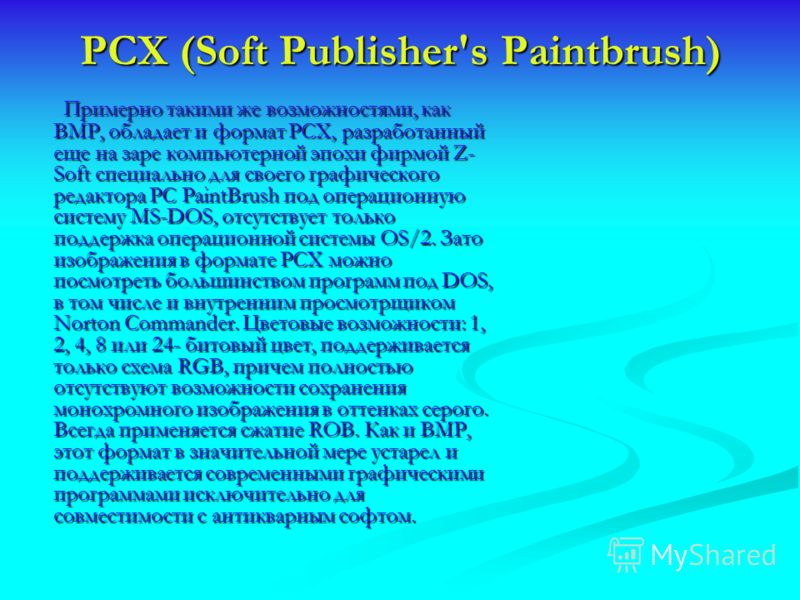 PCX (Soft Publisher's Paintbrush) Примерно такими же возможностями, как BMP, обладает и формат PCX, разработанный еще на заре компьютерной эпохи фирмой Z- Soft специально для своего графического редактора PC PaintBrush под операционную систему MS-DOS
