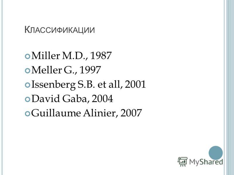 К ЛАССИФИКАЦИИ Miller M.D., 1987 Meller G., 1997 Issenberg S.B. et all, 2001 David Gaba, 2004 Guillaume Alinier, 2007