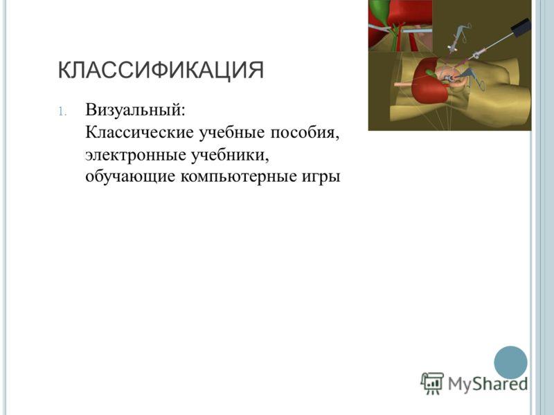 КЛАССИФИКАЦИЯ 1. Визуальный : Классические учебные пособия, электронные учебники, обучающие компьютерные игры