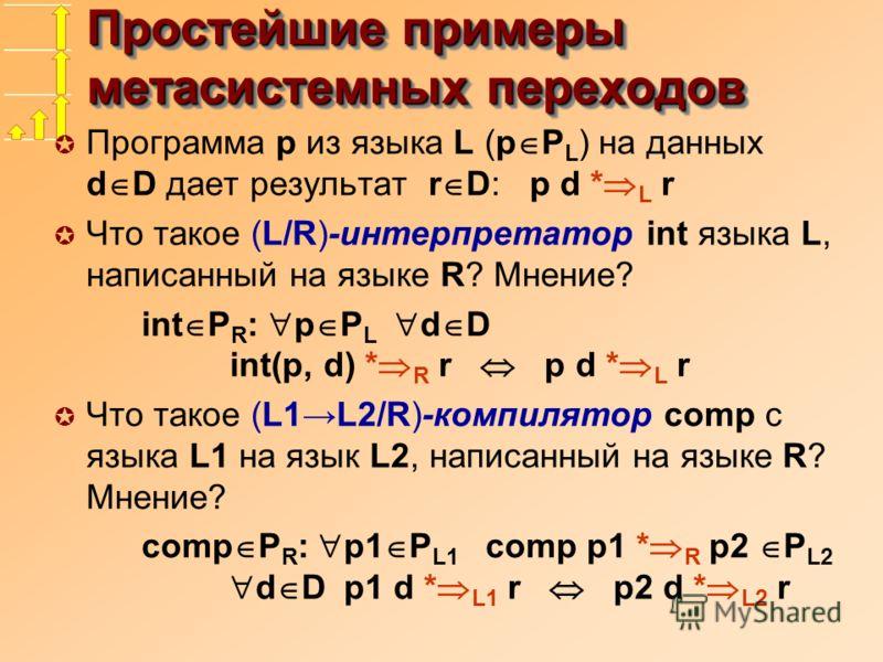 Простейшие примеры метасистемных переходов µ Программа p из языка L (p P L ) на данных d D дает результат r D: p d * L r µ Что такое (L/R)-интерпретатор int языка L, написанный на языке R? Мнение? int P R : p P L d D int(p, d) * R r p d * L r µ Что т