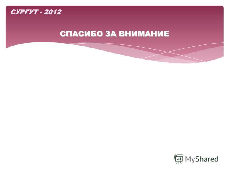 СПАСИБО ЗА ВНИМАНИЕ СУРГУТ - 2012