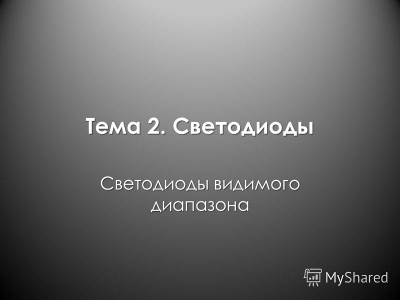 Тема 2. Светодиоды Светодиоды видимого диапазона