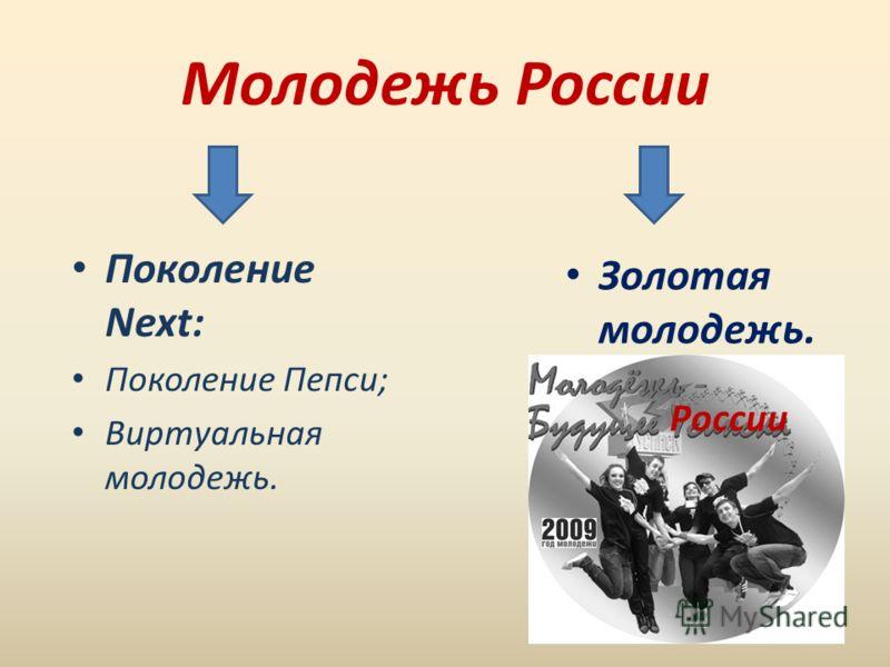 Молодежь России Поколение Next: Поколение Пепси; Виртуальная молодежь. Золотая молодежь. России