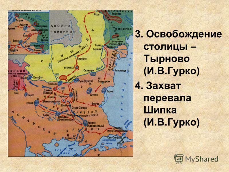 3. Освобождение столицы – Тырново (И.В.Гурко) 4. Захват перевала Шипка (И.В.Гурко)