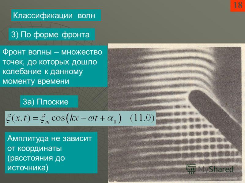 18 Классификации волн 3) По форме фронта 3а) Плоские Амплитуда не зависит от координаты (расстояния до источника) Фронт волны – множество точек, до которых дошло колебание к данному моменту времени
