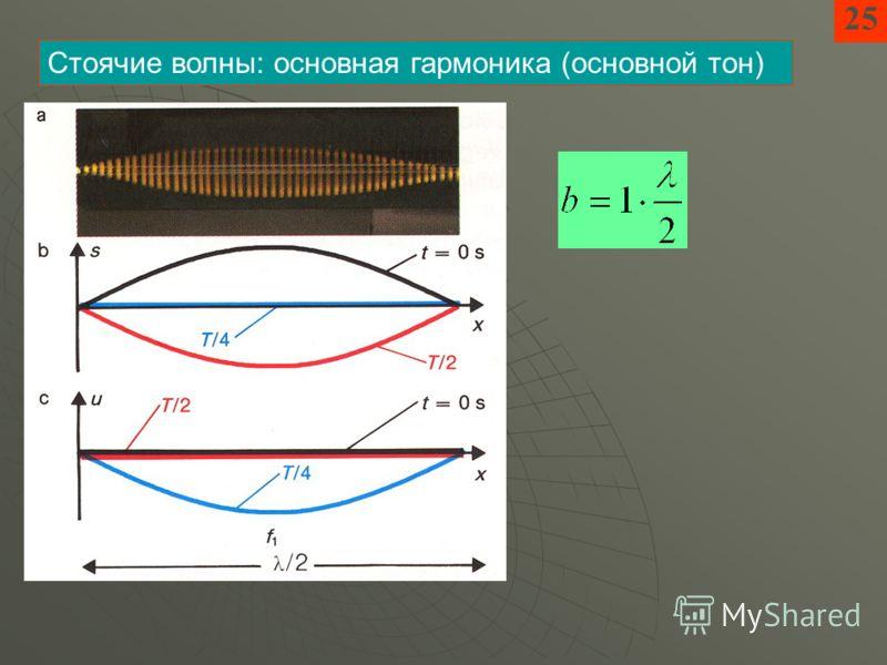 25 Стоячие волны: основная гармоника (основной тон)