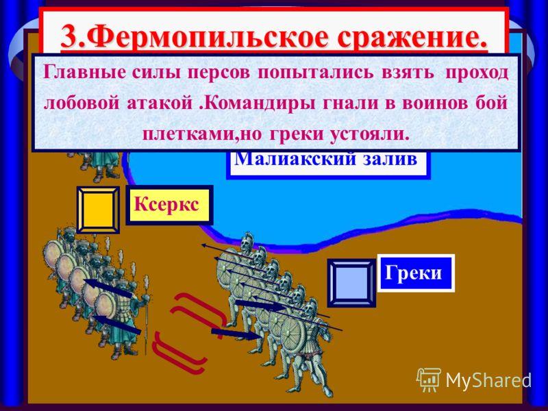 3.Фермопильское сражение. Малиакский залив Ксеркс Греки Главные силы персов попытались взять проход лобовой атакой.Командиры гнали в воинов бой плетками,но греки устояли.