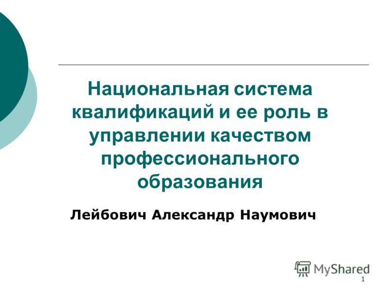 1 Национальная система квалификаций и ее роль в управлении качеством профессионального образования Лейбович Александр Наумович