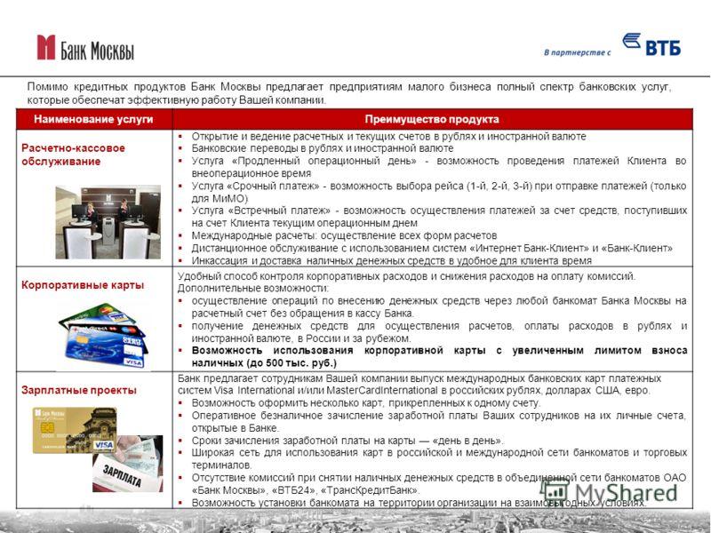 Помимо кредитных продуктов Банк Москвы предлагает предприятиям малого бизнеса полный спектр банковских услуг, которые обеспечат эффективную работу Вашей компании. Наименование услугиПреимущество продукта Расчетно-кассовое обслуживание Открытие и веде