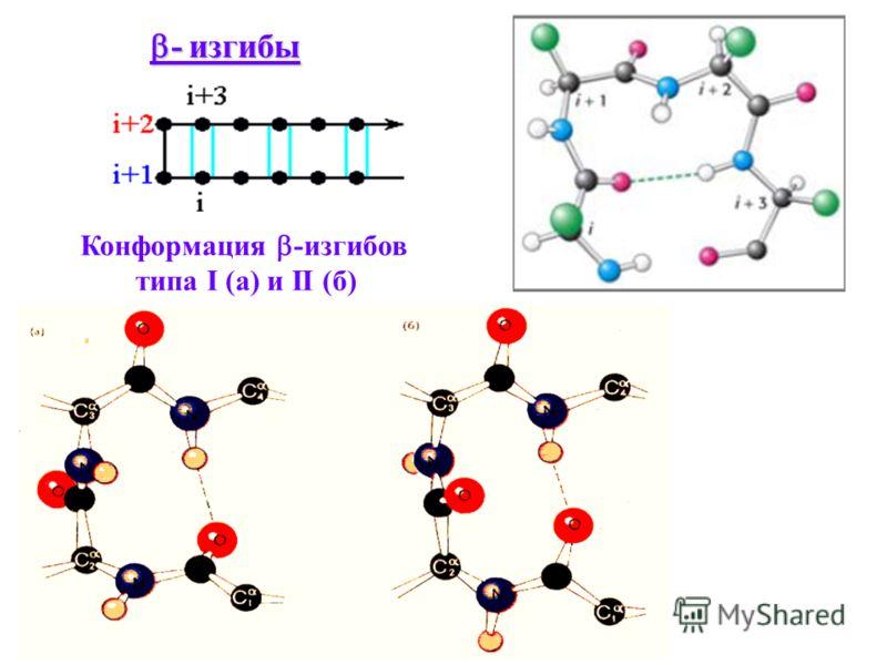 - изгибы - изгибы Конформация -изгибов типа I (а) и II (б)