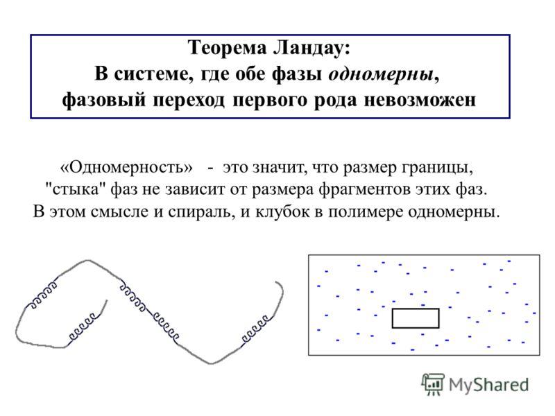 Теорема Ландау: В системе, где обе фазы одномерны, фазовый переход первого рода невозможен «Одномерность» - это значит, что размер границы, стыка фаз не зависит от размера фрагментов этих фаз. В этом смысле и спираль, и клубок в полимере одномерны.