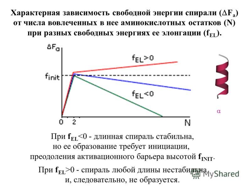 Характерная зависимость свободной энергии спирали ( F a ) от числа вовлеченных в нее аминокислотных остатков (N) при разных свободных энергиях ее элонгации (f EL ). При f EL 0 - спираль любой длины нестабильна и, следовательно, не образуется.
