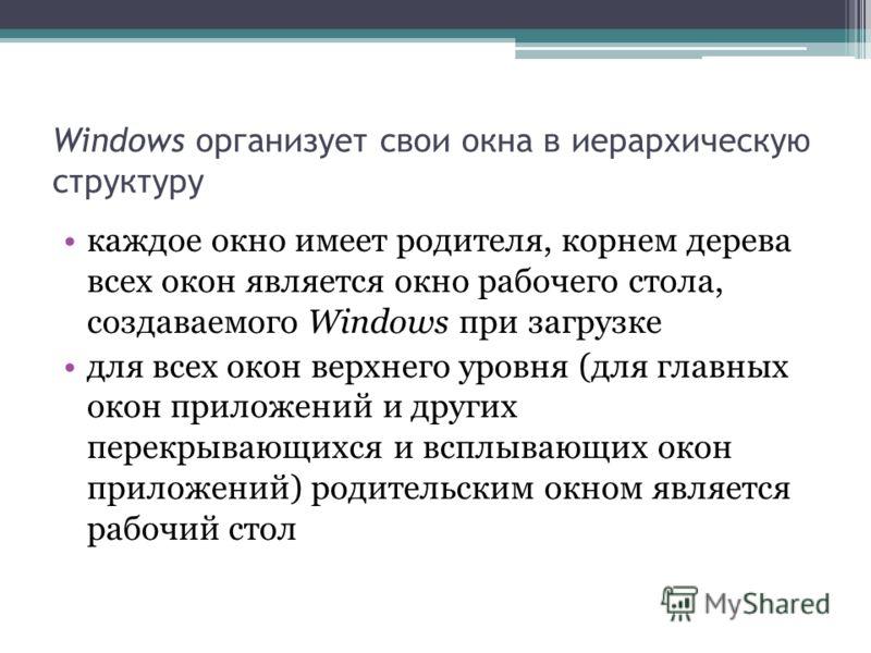 Windows организует свои окна в иерархическую структуру каждое окно имеет родителя, корнем дерева всех окон является окно рабочего стола, создаваемого Windows при загрузке для всех окон верхнего уровня (для главных окон приложений и других перекрывающ